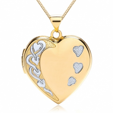 Large Heart 4 Photo Locket, 9ct Yellow & White Gold, Personalised, 4 Photo