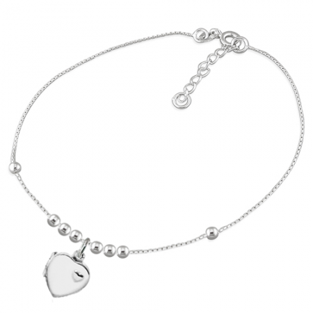 Heart Locket Anklet, 925 Sterling Silver, Personalised