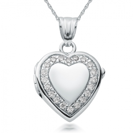 Heart Shaped Locket, Personalised, Cubic Zirconia & Sterling Silver
