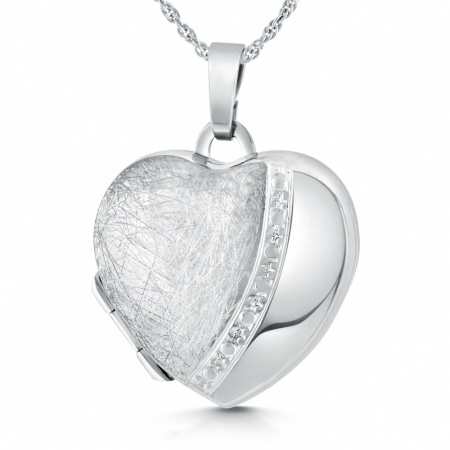 Heart Locket, with Half Scratched Pattern, Personalised, Sterling Silver