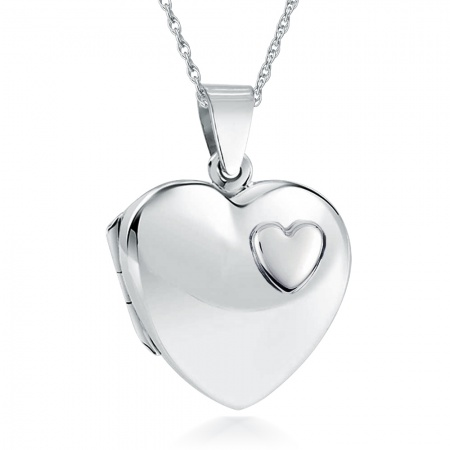 Ladies/Childs Small Heart Sterling Silver Raised Heart Locket Necklace (can be personalised)