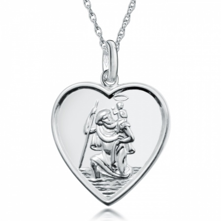 St Christopher Heart Necklace Personalised / Engraved, 925 Sterling Silver