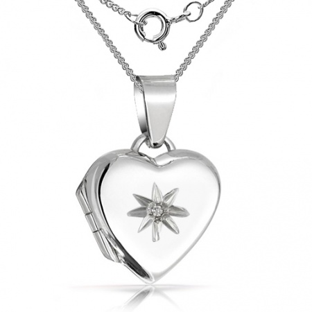 Heart Shaped Sterling Silver Locket with Cubic Zirconia (can be personalised)