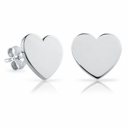 Heart Stud Earrings, Personalised/Engraved 925 Sterling Silver