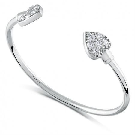 Hearts Babies Torque Bangle, CZ & Sterling Silver