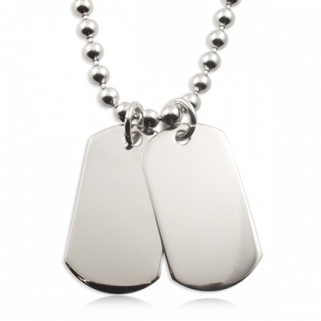 Heavy Weight Double Dog Tags Sterling Silver Necklace (can be personalised)
