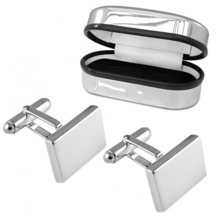 Heavy Weight Rectangular Hallmarked Sterling Silver Cufflinks (can be personalised)