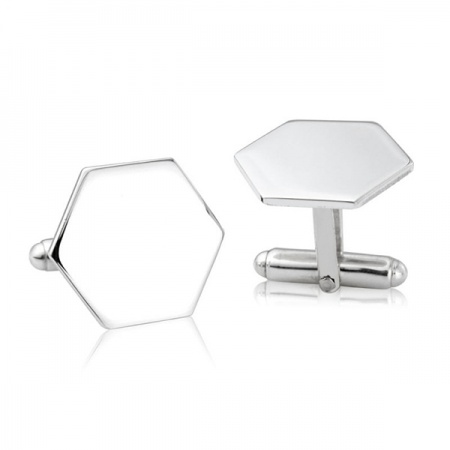 Hexagon Cufflinks, 925 Sterling Silver (can be personalised)