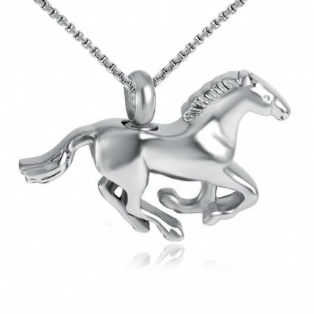 Horse Cremation Necklace, Personalised, Stainless Steel
