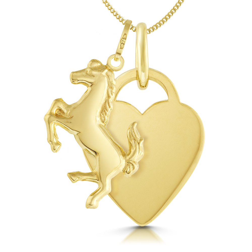 Horse & Heart Necklace, Personalised, 9ct Yellow Gold