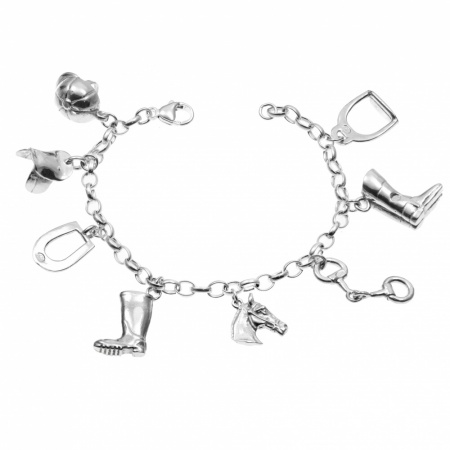 Horse Riding Charm Bracelet, 8 Charms, 925 Sterling Silver