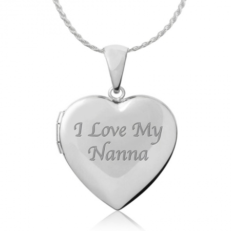 I Love my Nanna Sterling Silver 4-photo Heart Locket Necklace (can be personalised)