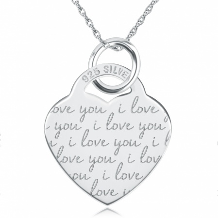 I Love You Heart Necklace, Personalised, 925 Sterling Silver