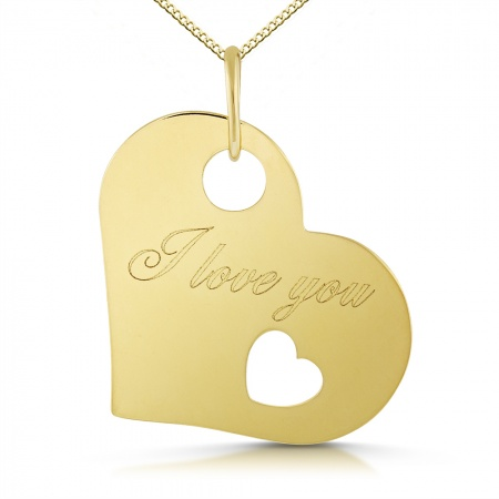 I Love You Heart Pendant 9ct Yellow Gold (can be personalised)