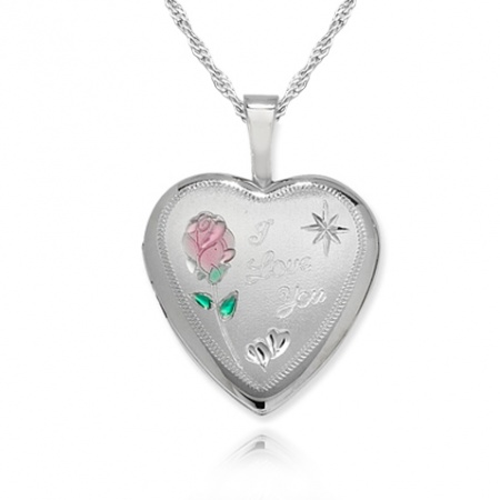 I Love You Locket, Colour Flower Heart Sterling Silver (can be personalised)