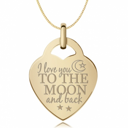 I Love You to the Moon and Back Heart Pendant 9ct Yellow Gold (can be personalised)