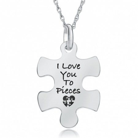 I Love You to Pieces  Jigsaw Necklace, Personalised, 925 Sterling Silver