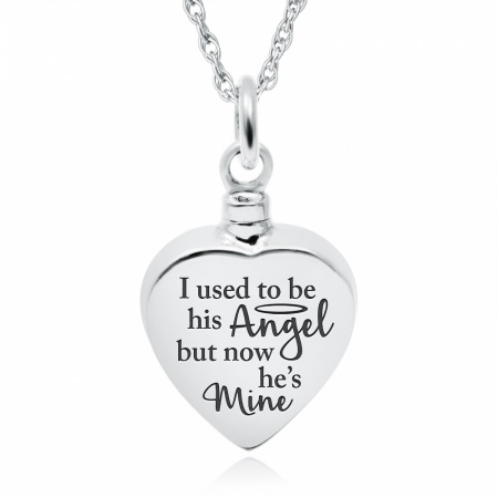 I Used to be His Angel, but now he's Mine Ashes Necklace, Personalised