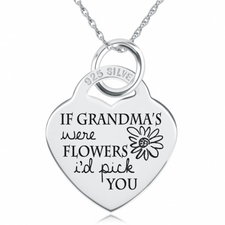 If Grandma's were Flowers I'd Pick You Necklace, Personalised, Sterling Silver