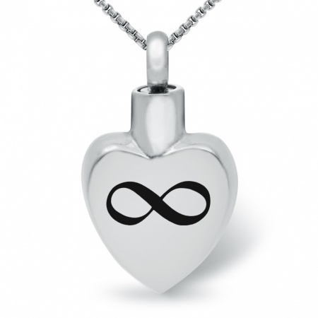 Infinity Symbol Ashes Memorial Locket Necklace, Stainless Steel (can be personalised)