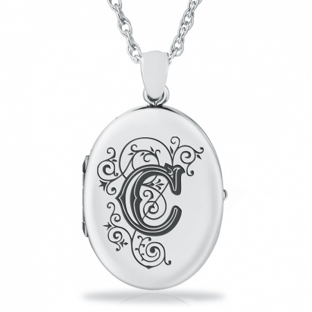 Initial/Letter C Sterling Silver 2 Photo Locket (can be personalised)