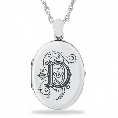 Initial/Letter D Sterling Silver 2 Photo Locket (can be personalised)