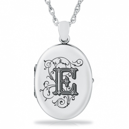 Initial/Letter E Sterling Silver 2 Photo Locket (can be personalised)