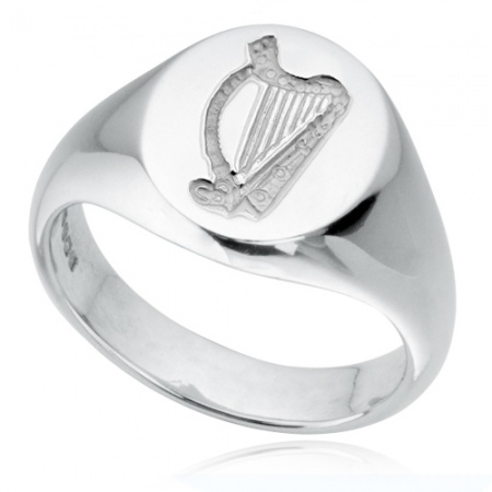 Irish Harp Sterling Silver Hallmarked Signet Ring