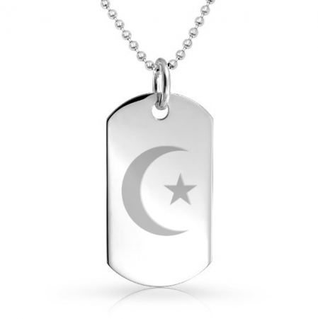 Islamic Star & Crescent Dog Tag - 925 Sterling Silver Personalised