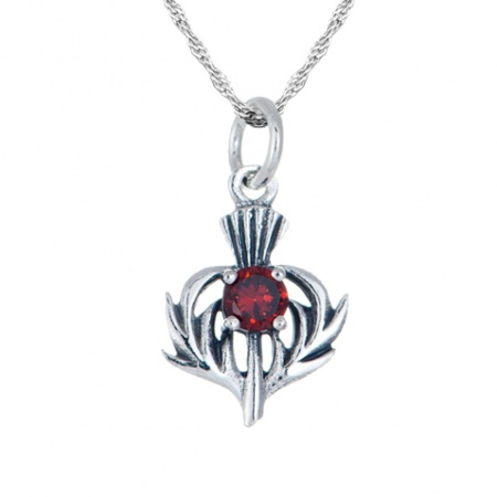 January Birthstone Scottish Thistle Sterling Silver Necklace