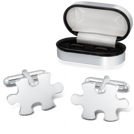 Jigsaw Puzzle Cufflinks, 925 Sterling Silver (can be personalised)