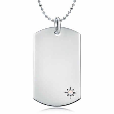 June Birthstone Dog Tag Necklace, Personalised Engraving, Sterling Silver, Pearl