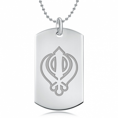 Khanda Sterling Silver Dog Tag Necklace (can be personalised)