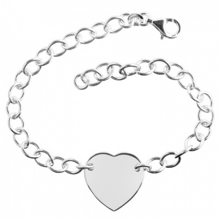 Ladies Heart ID Bracelet in Sterling Silver (can be personalised)
