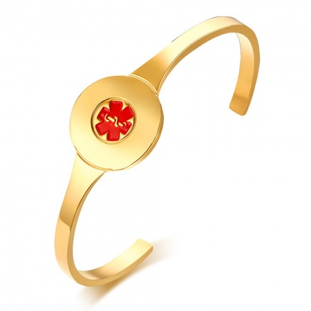Ladies Medical Alert Disc Bangle, Personalised, Gold