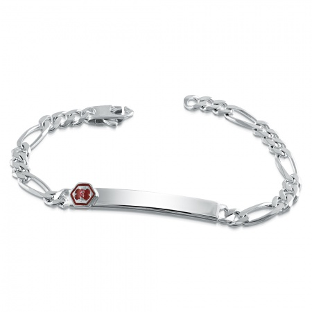 Ladies Medical Alert ID Bracelet, Personalised, Sterling Silver