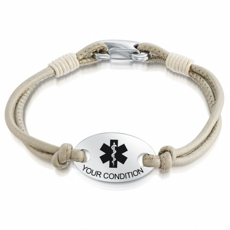 Ladies Medical Alert Bracelet, Personalised, Leather & Stainless Steel