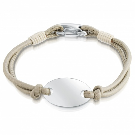 Ladies Pearl Leather & Stainless Steel ID Bracelet, Personalised