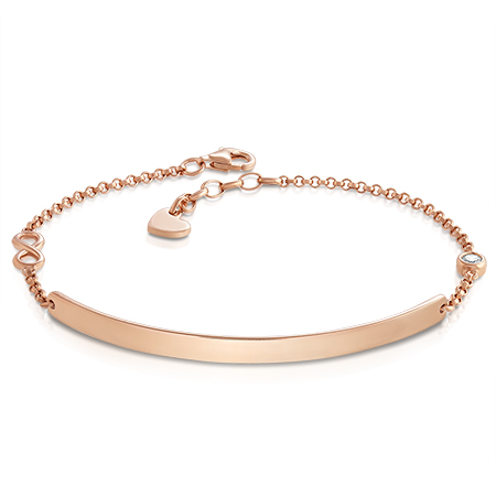 Ladies Infinity Identity Bracelet, Personalised, Rose Gold over Sterling Silver