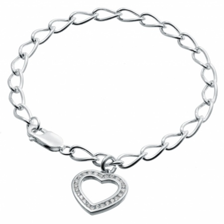 Ladies Cubic Zirconia Heart Sterling Silver Bracelet