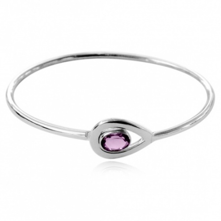 Ladies Amethyst Hallmarked Sterling Silver Bangle