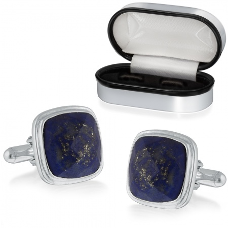 Lapis Lazuli Cufflinks, Personalised, Sterling Silver