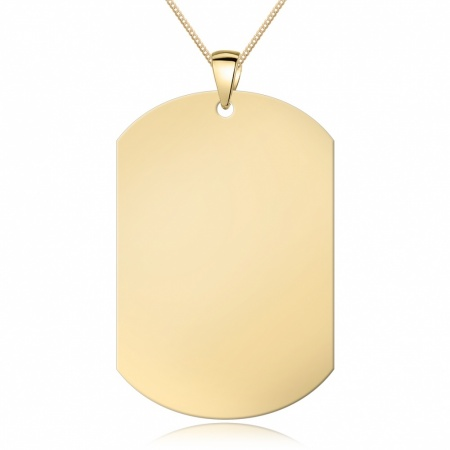 Large 9ct Yellow Gold Dog Tag, Personalised / Engraved, Oblong