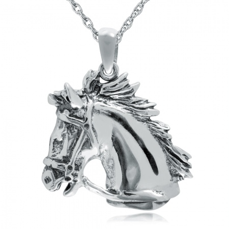 Large Horses Head Necklace, 925 Sterling Silver, Oxidised Finish