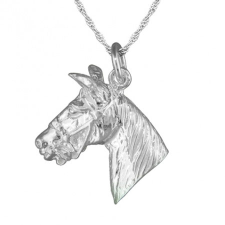 Large Horses Head Equestrian Sterling Silver Necklace