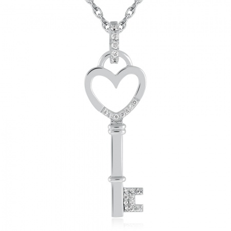 Large Key Necklace, Heart Shaped, Cubic Zirconia & Sterling Silver