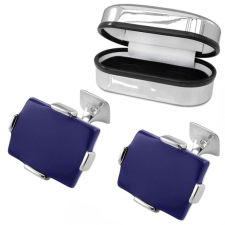 Large Lapis Lazuli Rectangular Sterling Silver Cufflinks (can be personalised)