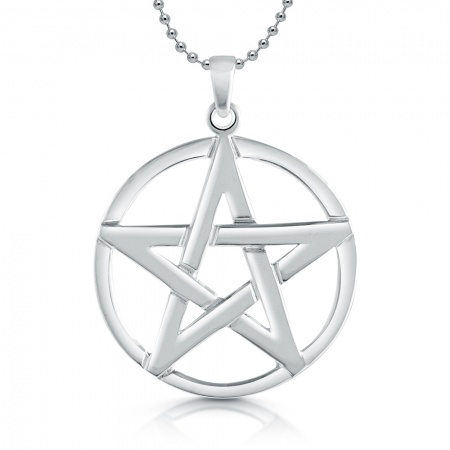 Large Pentagram Necklace, Sterling Silver