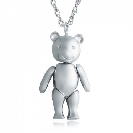 Large Teddy Bear Necklace, 925 Sterling Silver, Hallmarked