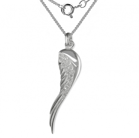 Large Wing Necklace, Cubic Zirconia & Sterling Silver